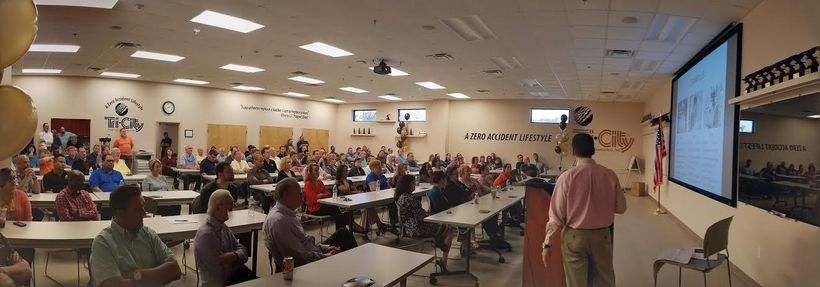 Jack Olmstead presenting to a group of Tri-City Electrical Contractors, Inc. employees