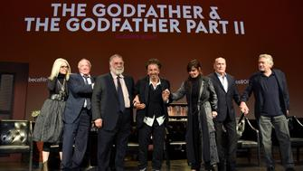 NEW YORK, NY - APRIL 29:  Diane Keaton, James Caan, Francis Ford Coppola, Al Pacino, Talia Shire, Robert Duvall and Robert DeNiro take a bow onstage during the panel for 'The Godfather' 45th Anniversary Screening during 2017 Tribeca Film Festival closing night at Radio City Music Hall on April 29, 2017 in New York City.  (Photo by Kevin Mazur/Getty Images for Tribeca Film Festival)