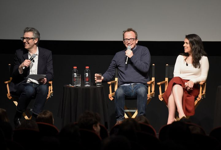 "Ira Glass, Chris Gethard and Abbi Jacobson at the ""Career Suicide"" premiere during the 2017 Tribeca Film Festival."