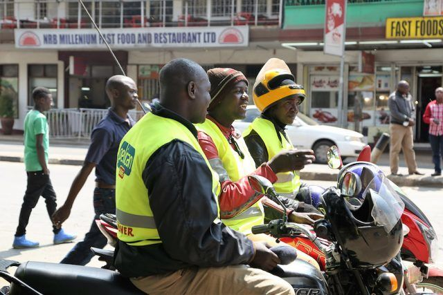 <em>The ubiquitous motor cycle taxi or Boda Boda is helping to employ many young people by responding to an increasing demand