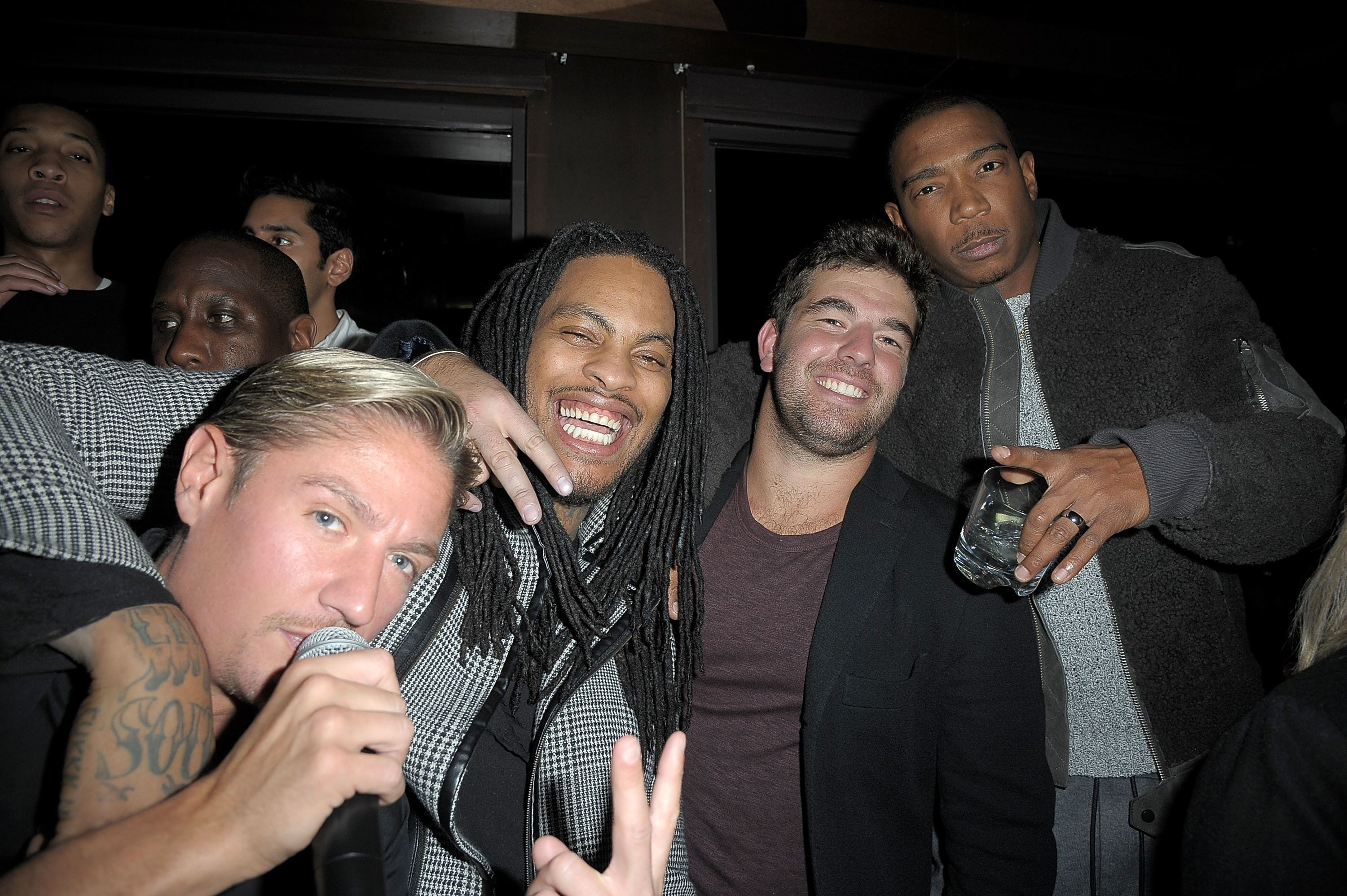 NEW YORK, NY - DECEMBER 14:  (L-R) Matthew Assante, Waka Flocka, Billy McFarland and Ja Rule attend 'Whisper Wednesdays' at PHD Terrace Dream Midtown on December 14, 2016 in New York City.  (Photo by Chance Yeh/Getty Images)