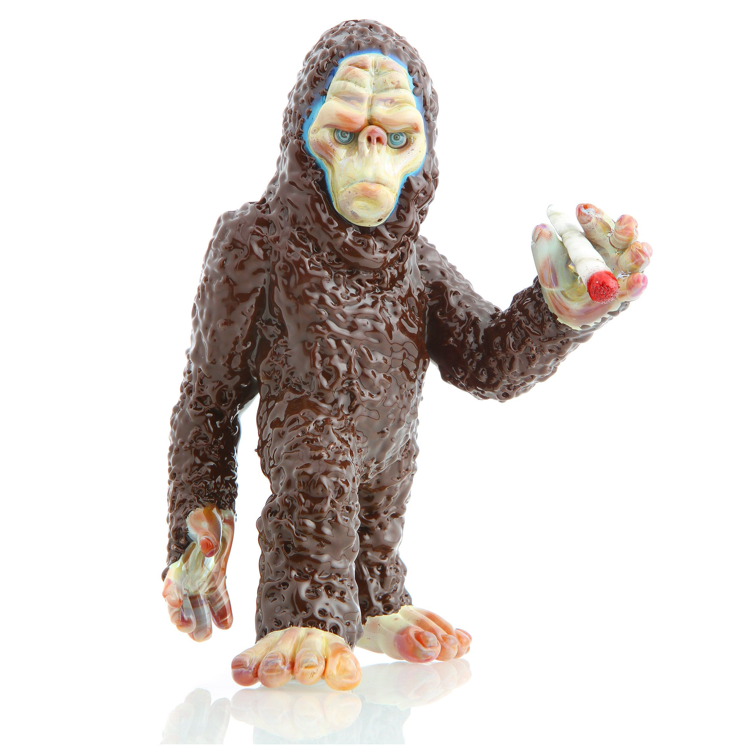 <strong>Coyle</strong>, <i>Smokin Sasquatch</i>, Lampworked borosilicate glass, 6 x 4 x 4 ½ inches