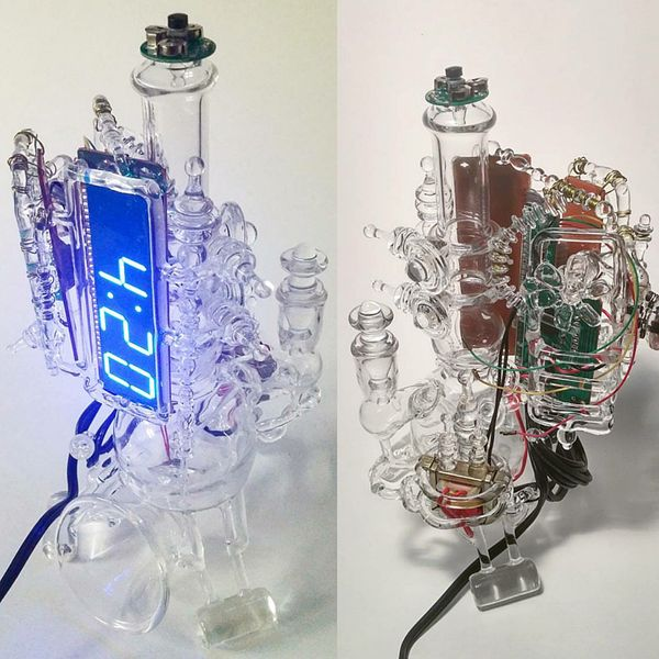 <strong>Redsnapper</strong>, <i>Wake n' Bake alarm clock functioning functional art</i>, 2016, Borosilicate glass, alar