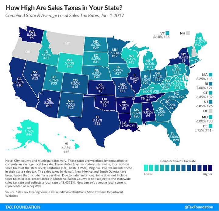 "2017 sales taxes by state (<a rel=""nofollow"" href=""https://taxfoundation.org/state-and-local-sales-tax-rates-in-2017/"" target"
