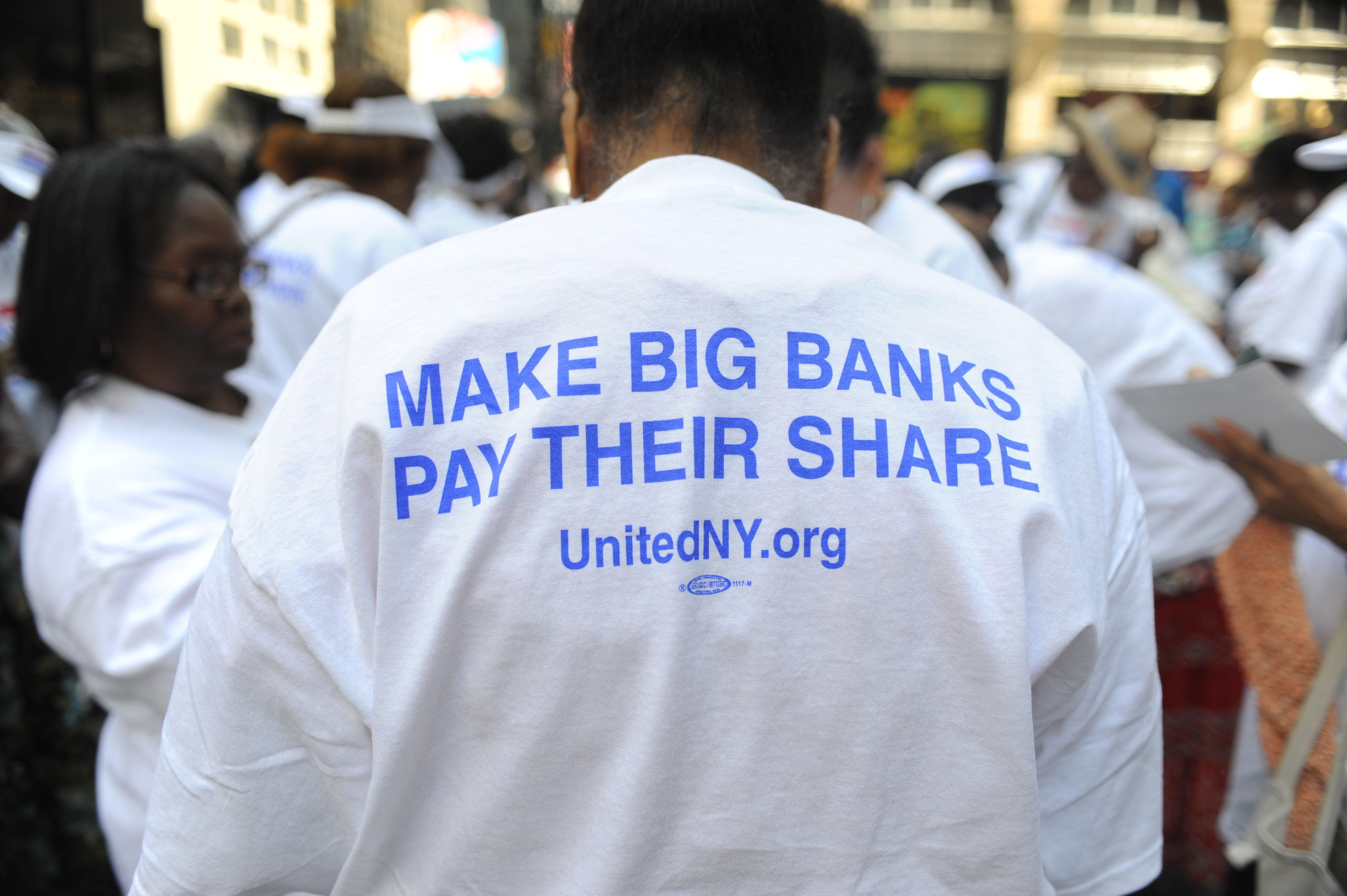 "Senior citizens organized by UnitedNY.org put on a protest (""Knit In"") at Wells Fargo bank in Manhattan on 7th Avenue and 39th Street on August 3, 2011. (Damon Dahlen, AOL)"