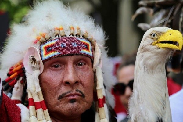 Indigenous people stood at the forefront of the march.