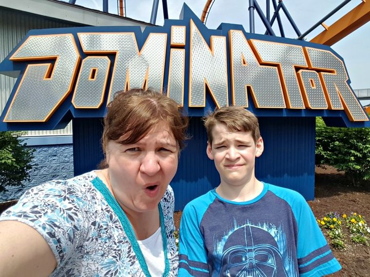 <p>My son and I getting ready to take on The Dominator at King's Dominion</p>