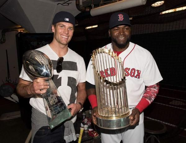 Tom Brady and David Ortiz at Fenway Park for the Boston Red Sox 2017 home opener.