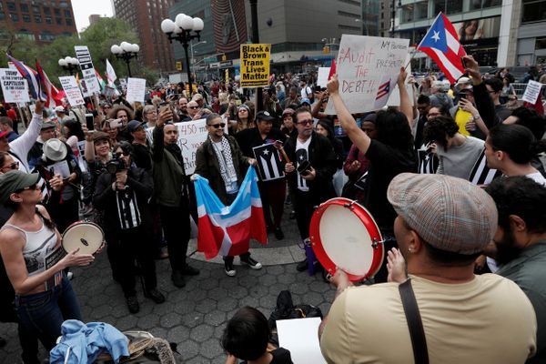 Demonstrators gather during a May Day protest in New York, U.S. May 1, 2017.
