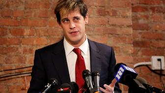 Milo Yiannopoulos addresses the media during a news conference in New York, U.S., February 21, 2017.  REUTERS/Lucas Jackson