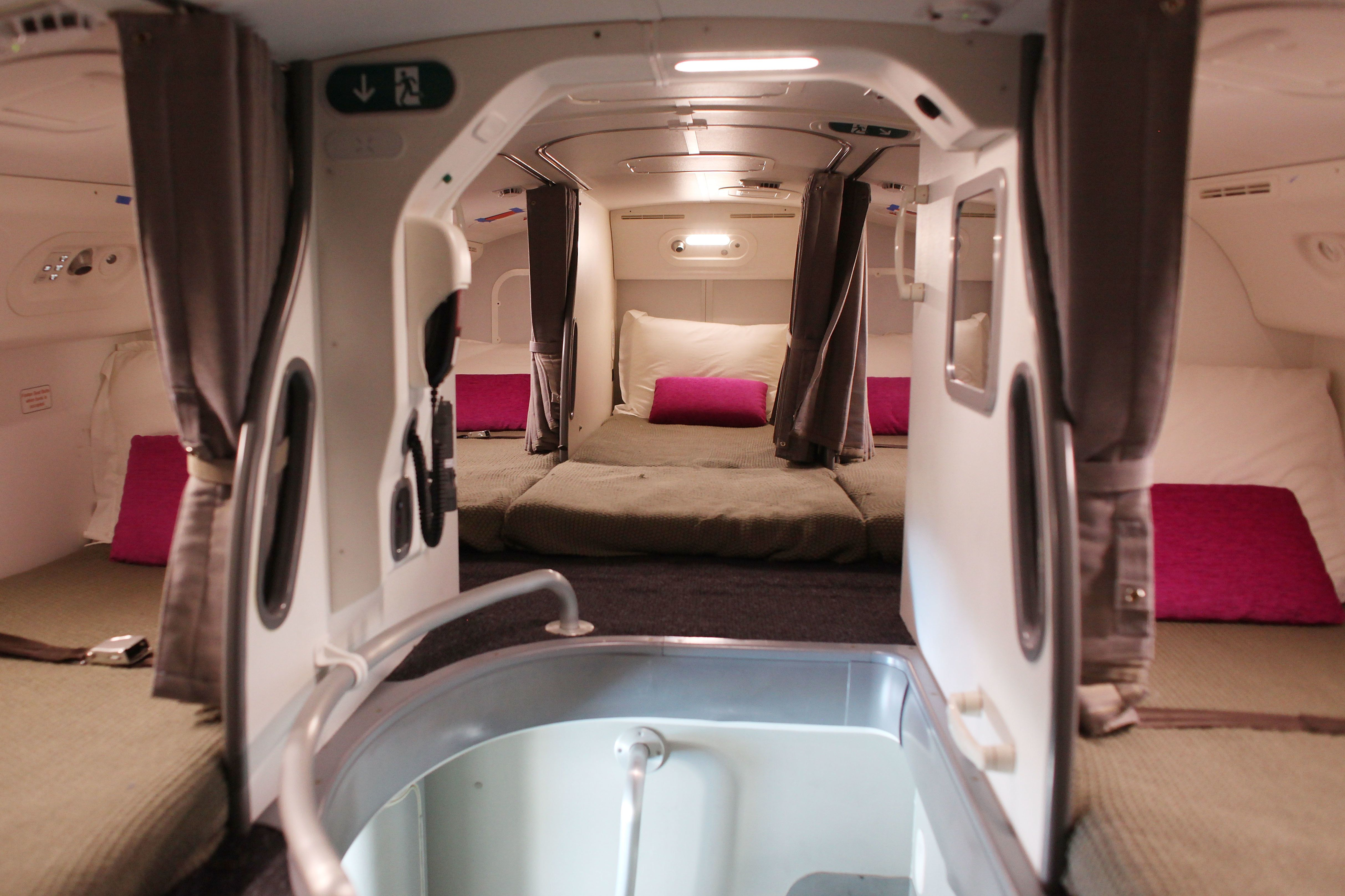 The interior of the crew sleeping quarters on the Boeing 787 Dreamliner is seen during a media tour on February 12, 2012 in Singapore. The 787 Dreamliner will be on show at the Singapore Airshow 2012.  (Photo by Chris McGrath/Getty Images)