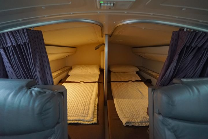 """Meanwhile, pilots rotate resting&nbsp;in <a href=""""https://blog.virginaustralia.com/our-people/do-our-crew-sleep-long-haul-flights"""" target=""""_blank"""">two beds above the business&nbsp;class cabin</a>, which come with access to in-flight entertainment.&nbsp;"""
