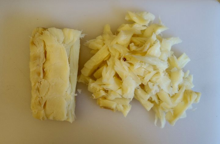 <p>Salt cod, soaked, sliced and shredded</p>