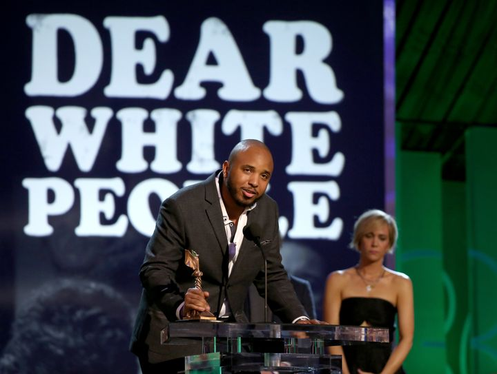 Justin Simien speaks onstage during the 2015 Film Independent Spirit Awards.