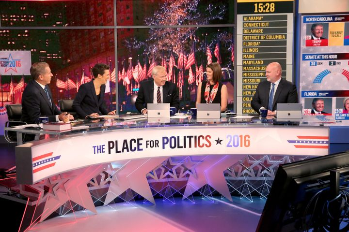 Brian Williams, Rachel Maddow, Chris Matthews, Kasie Hunt and Steve Schmidt do election night coverage on MSNBC.