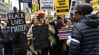 Activists attend a Black Lives Matter protest against U.S. President Donald Trump and New York Mayor Bill de Blasio in the Manhattan borough of  New York, U.S., April 1, 2017. REUTERS/Darren Ornitz