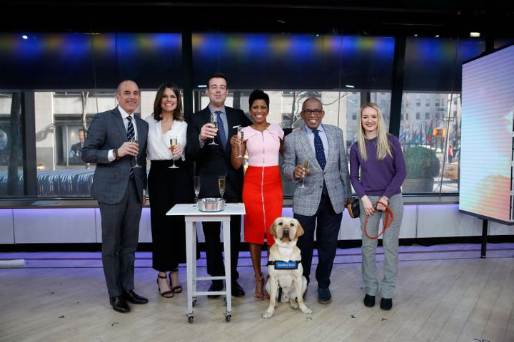 "In this file photo, Matt Lauer, Savannah Guthrie, Carson Daly, Tamron Hall and Al Roker pose with a guest of the ""Today"""