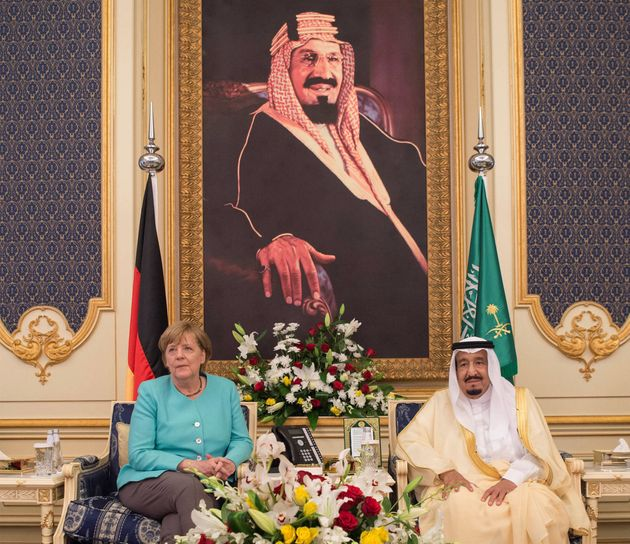 Saudi Arabia's King Salman bin Abdulaziz Al Saud and German Chancellor Angela Merkel attend a deal signing...