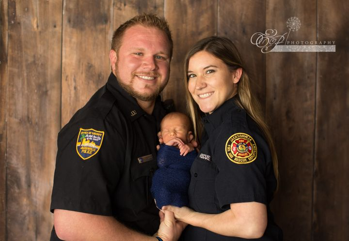 """""""It means a lot knowing that we're both public servants, and I wanted to do a photo that included both him as a police officer, and me as a firefighter,"""" Caroline noted in the caption."""