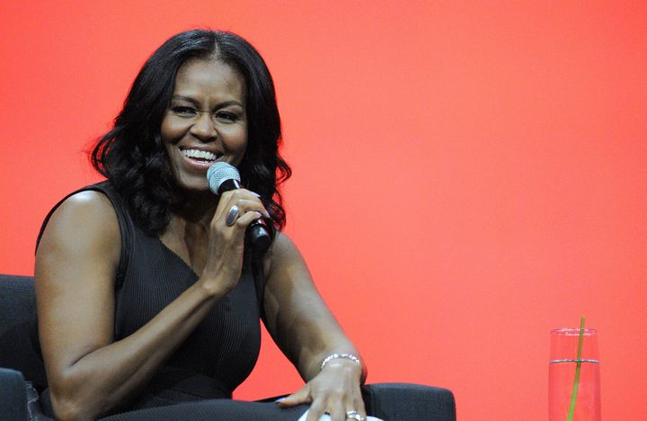 Former first lady Michelle Obama smiles during a conversation at the AIA Conference on Architecture 2017 on April 27 in