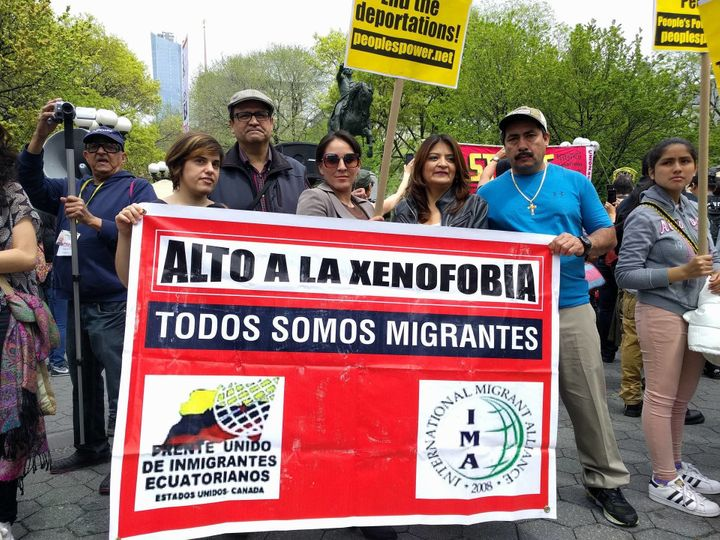 Antonio Arizaga (center, left) and other members of the immigrant organization Frente Unido de Inmigrantes Ecuatorianos.&nbsp