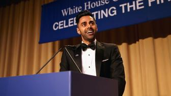 WASHINGTON, DC - APRIL 29:  Host, comedian Hasan Minhaj speaks on stage during 2017 White House Correspondents' Association Dinner at Washington Hilton on April 29, 2017 in Washington, DC.  (Photo by Tasos Katopodis/Getty Images)