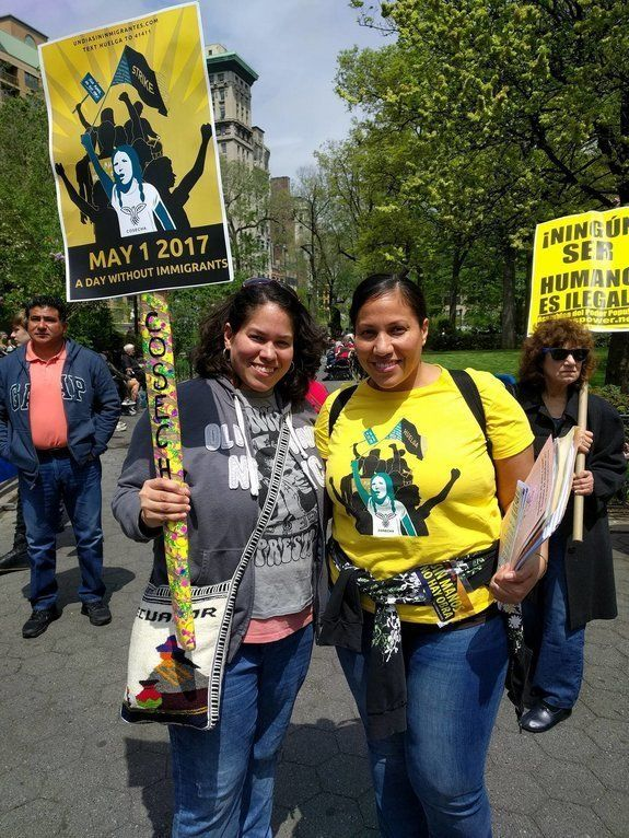 Vicky Barrios, right, a social worker and organizer for immigrant rights group Movimiento Cosecha, pictured at a rally at&nbs