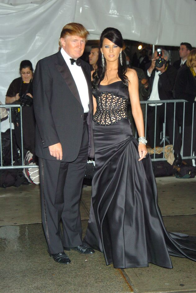 Donald Trump and Melania arriving at the 2004 Met