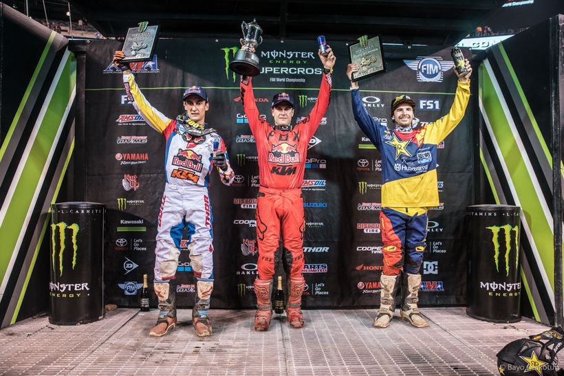 All eyes will be on Dungey (center) when 2017 Monster Energy Supercross concludes this coming weekend in Las Vegas.