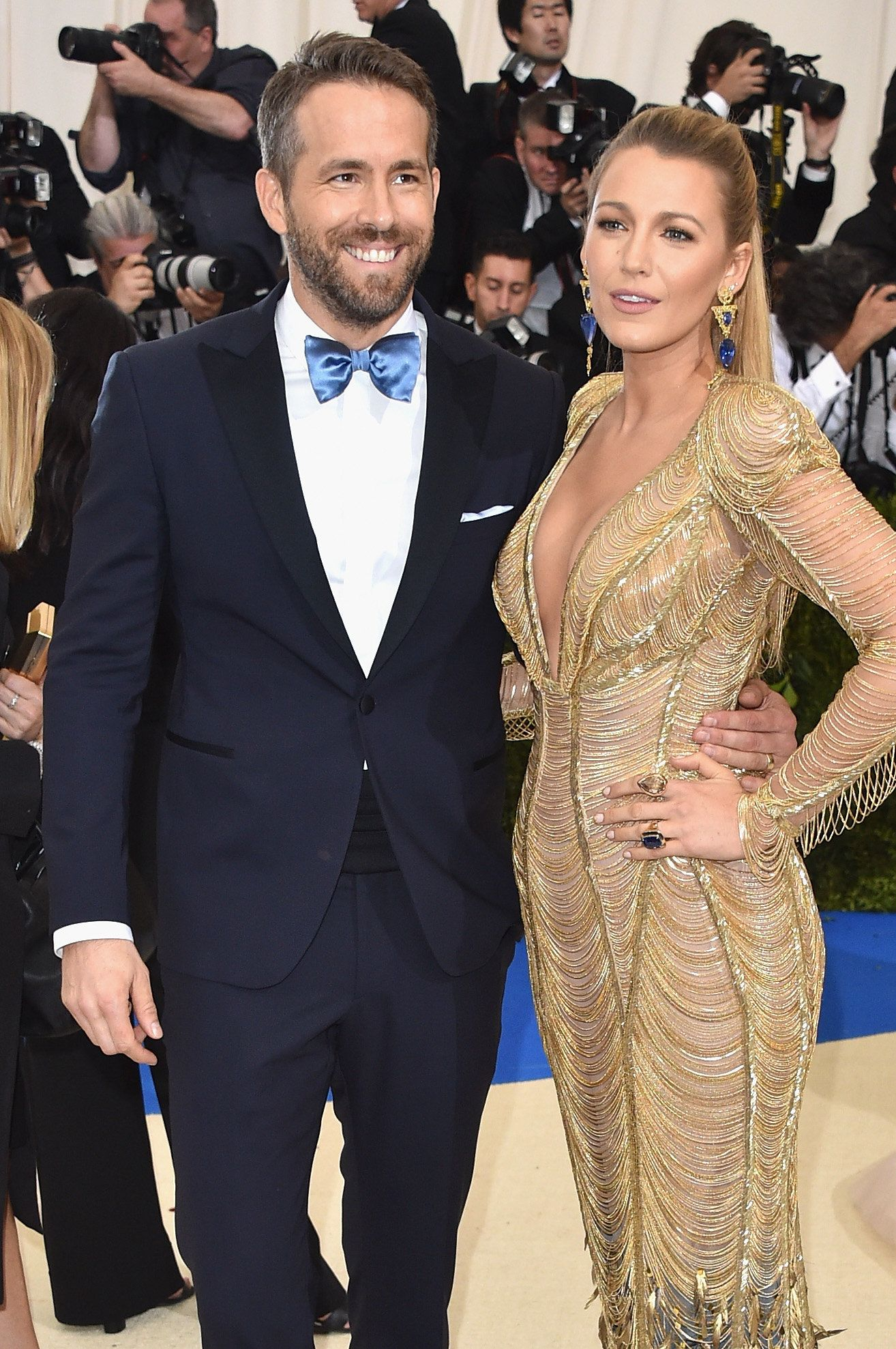 NEW YORK, NY - MAY 01:  Ryan Reynolds (L) and Blake Lively attend the 'Rei Kawakubo/Comme des Garcons: Art Of The In-Between' Costume Institute Gala at Metropolitan Museum of Art on May 1, 2017 in New York City.  (Photo by John Shearer/Getty Images)