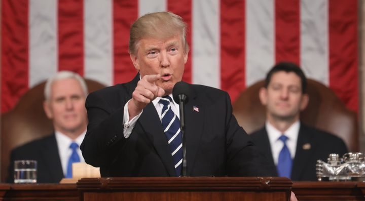 U.S. President Donald Trump proposes the idea of meritocratic immigration during a speech to a joint session of Congress on F