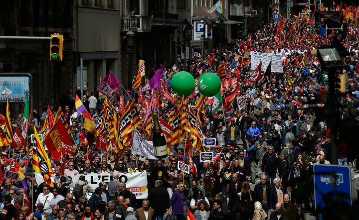 May Day march in Barcelona, Spain