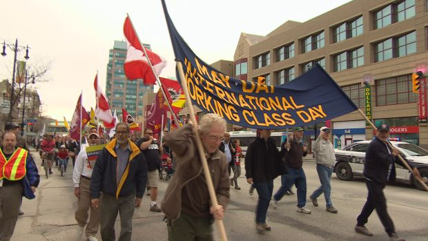 May Day march in Winnipeg, Canada