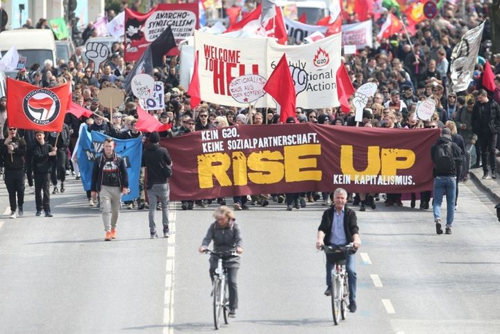 May Day march in Hamburg, Germany