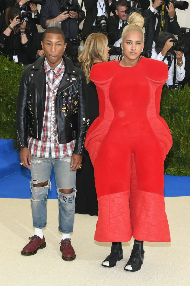 Pharrell Williams and Helen Lasichanh on the Met Gala red