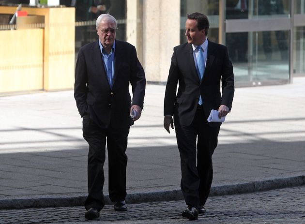David Cameron with Sir Michael Caine at the launch of the National Citizen Service in