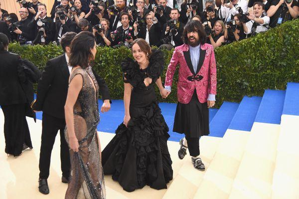 Kendall Jenner, Dakota Johnson (L) and Gucci Creative Director Alessandro Michele