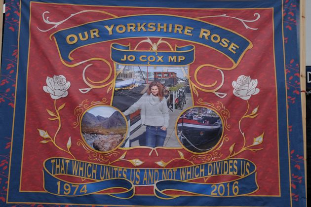 A banner at last year's memorial