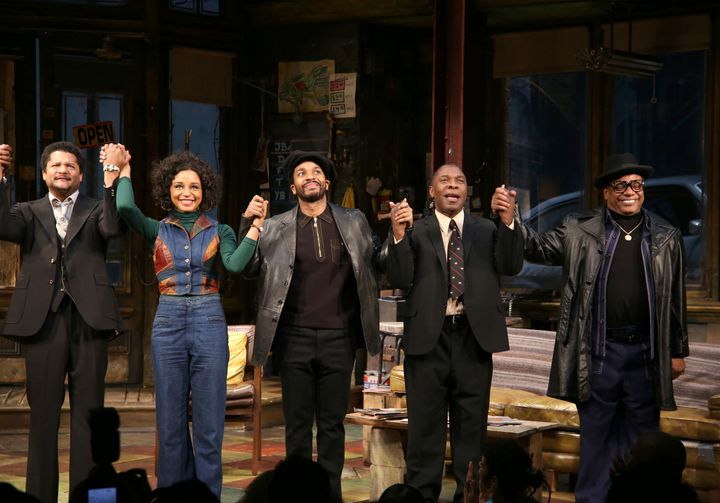 "Brandon J. Dirden, Carra Patterson, Andre Holland, Michael Potts, Harvy Blanks during August Wilson's ""Jitney"" Broadway openi"