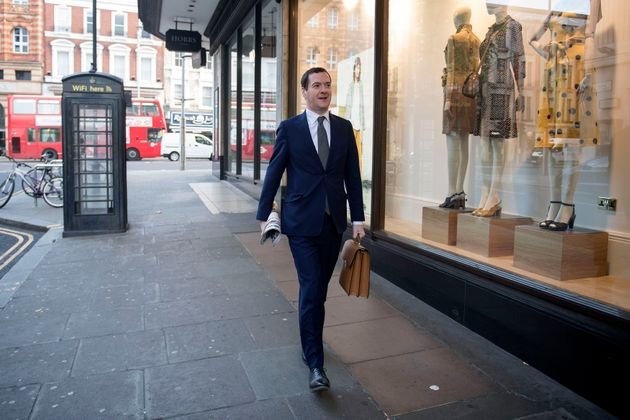 George Osborne arrives at the London Evening Standard offices at Northcliffe House in Kensington, London,...