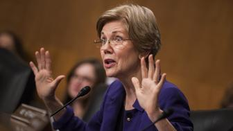Senator Elizabeth Warren, a Democrat from Massachusetts, speaks during a Senate Banking Committee confirmation hearing for Jay Clayton, chairman of U.S. Securities and Exchange Commission (SEC) nominee for President Donald Trump, not pictured, in Washington, D.C., U.S., on Thursday, March 23, 2017. Trump tapped Clayton to lead the SEC in January, saying the Sullivan & Cromwell partner would ensure that financial companies thrive and create jobs, while still playing by the rules. Photographer: Zach Gibson/Bloomberg via Getty Images