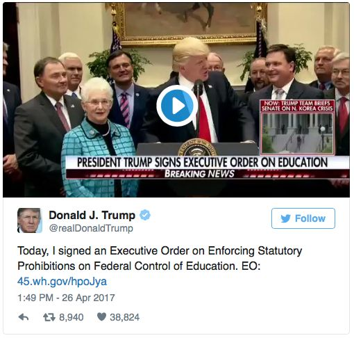 Trump signs Executive Order on Education.