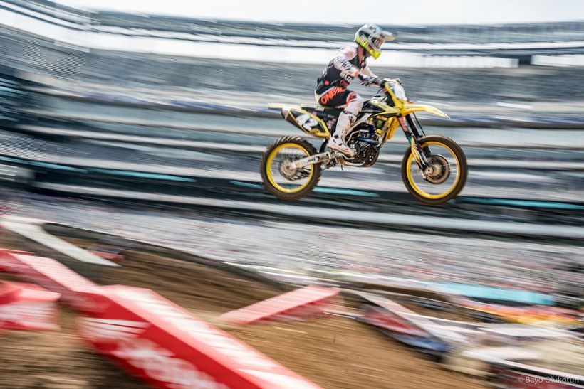 Kyle Cunningham maneuvers through a rhythm section during timed practice on his Autotrader/JGR/Suzuki machine.