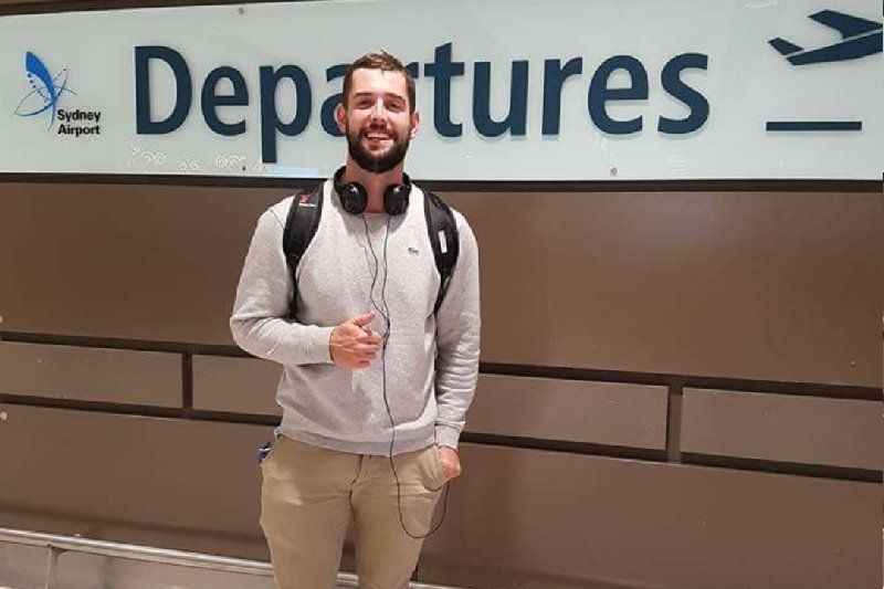 Baxter Reid 26 of Sydney was arrested on April 23 after allegedly overstaying his US visa by an hour