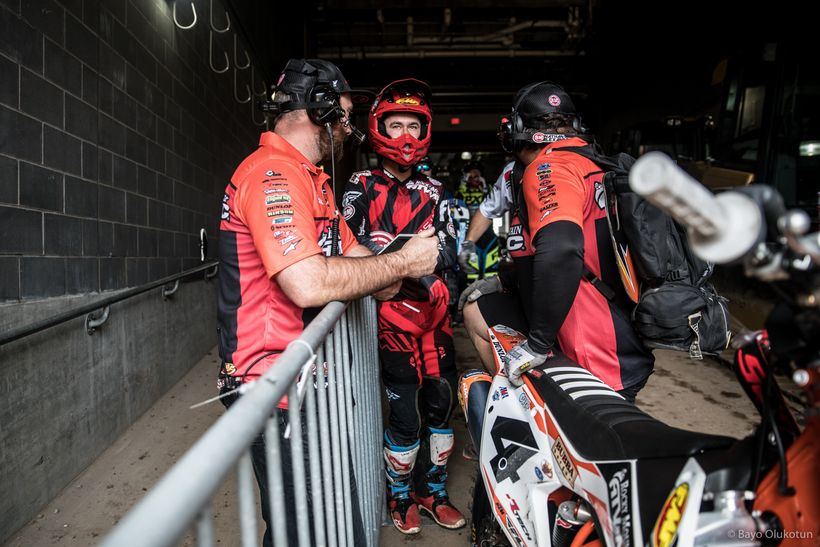 Blake Baggett eyes the track from the tunnel before practice. The diminutive rider has greatly improved his Supercross skills