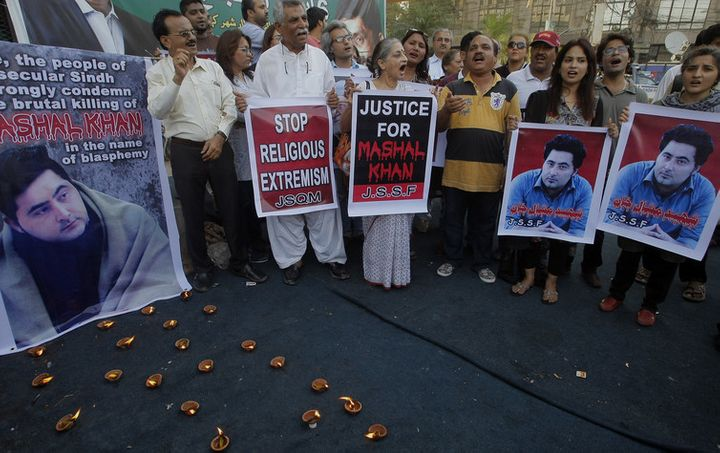 Mohammad Mashal Khan, a student, in Karachi, Pakistan, was killed recently over alleged blasphemy, drawing nationwide condemn