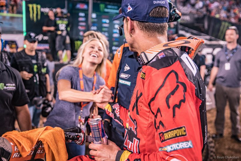 Dungey receives a congratulatory handshake and hug from his wife, Lindsay, just after capturing the win in New Jersey.