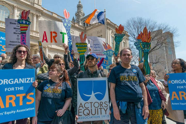 Arts groups at a rallyin New York City in April, denouncing the Trump administration's proposed cuts.