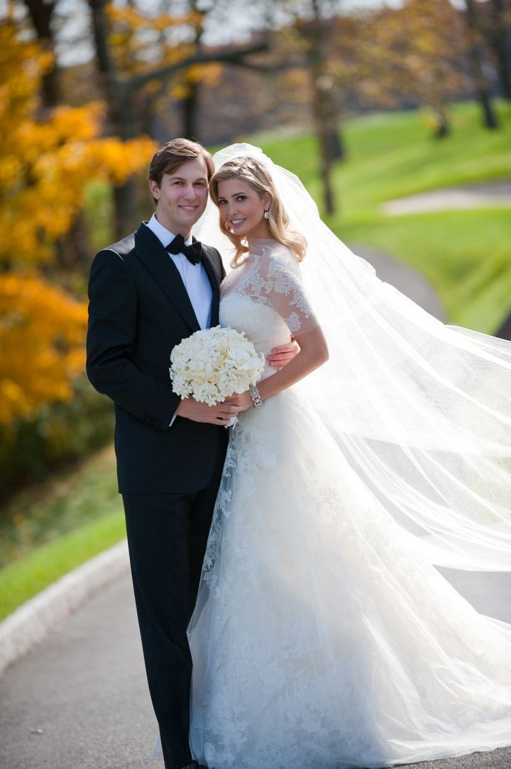 Ivanka Trump (R) and Jared Kushner (L) attend their wedding at Trump National Golf Club on October 25, 2009 in Bedminster, New Jersey. According to Page Six, the couple's wedding invitations included fliers for Trump's other golf courses.