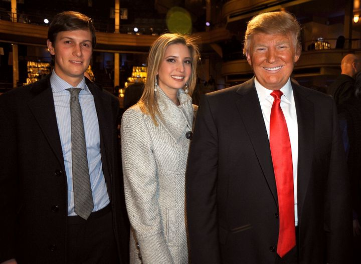 Jared Kushner, Ivanka Trump and Donald Trump attend the Comedy Central Roast of Donald Trump at the Hammerstein Ballroom on March 9, 2011 in New York City.